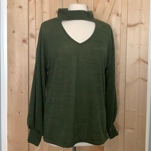 Tops - Boutique Olive Green Long Cut Out Detail Shirt NEW